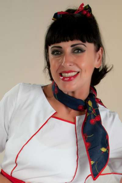 Bluse PAOLA weiss rot