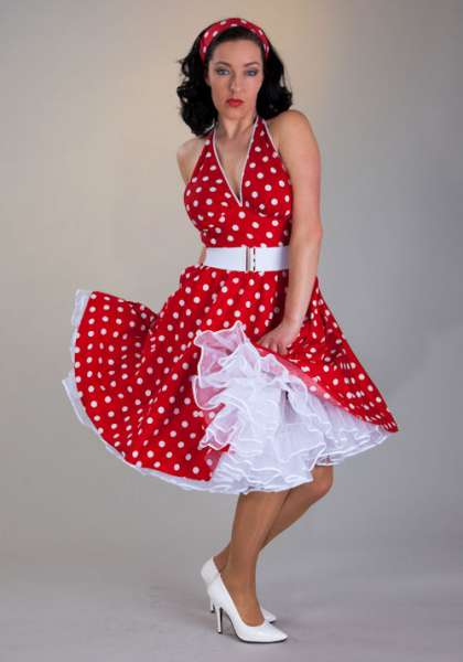 Petticoat Kleid Outfit MARILYN Punkte rot weiss Gr. 32-34