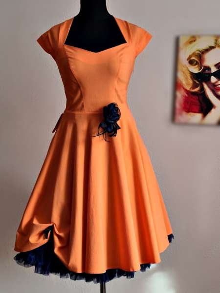 Rockabilly Kleid orange zum Petticoat blau
